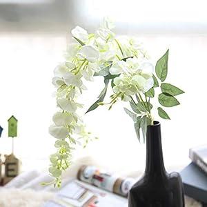 Kirinhomelife Artificial Fake Flowers Silk Flower Wisteria Vine Garland Décor for Wedding Home Garden Party Hanging Decorations,6 pcs 12
