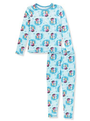 Disney Frozen Little Girls' 2-Piece Long Underwear Set Featuring Anna and Elsa - Aqua, -