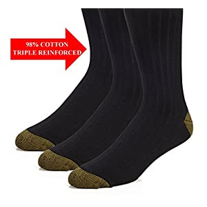 Mens Cotton Dress Crew Socks - 98% Cotton Classic Solid Ribbed Socks -White or Black - 3 pk and 6 pk - by Topfit