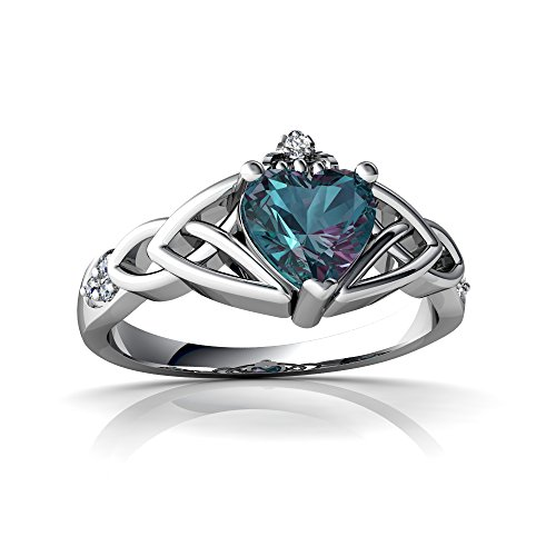 14kt White Gold Lab Alexandrite and Diamond 6mm Heart Claddagh Trinity Knot Ring - Size 9