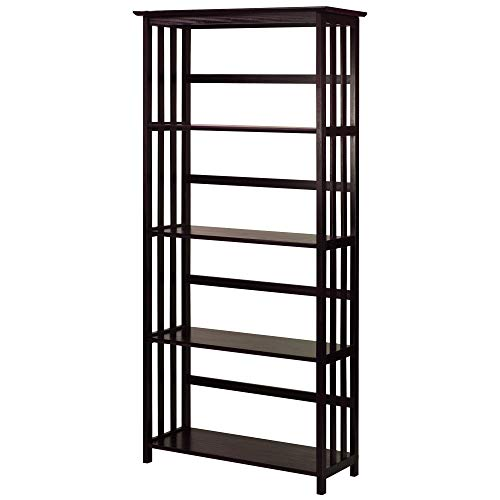 Mission Folding Bookcase - Casual Home Mission Style 5-Shelf Bookcase, Espresso