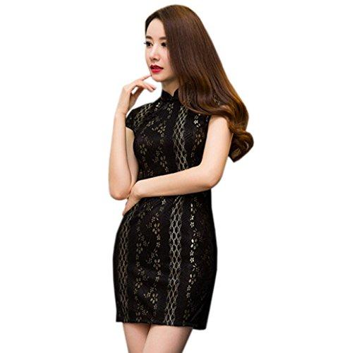 Dal Disegno Del Nero Cheongsam Donne Partito Pizzo Del Xuexian Vestito Mini Qipao Vestito qOxv6HT