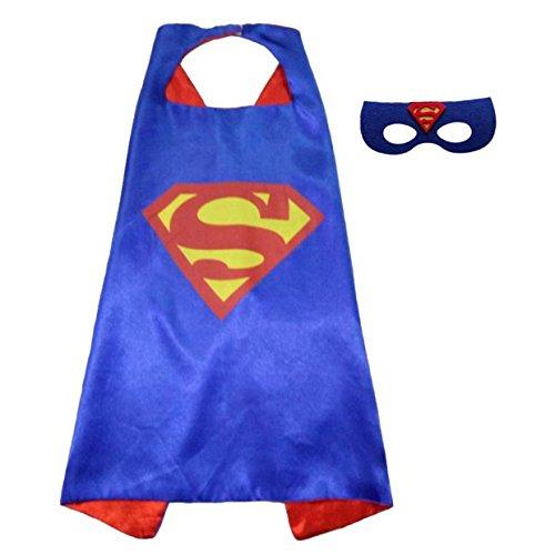 Angreen Dress Up Comics Cartoon Superhero Costume with Satin Cape and Matching Felt Mask, Halloween Costume Cloak for Child, Superman (Superman Halloween Costumes For Kids)