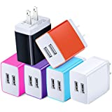 USB Power Adapter, Costyle 6 Pack 3.1 Amp 15.5 Watt Dual USB 2 Port Home Wall Charger Compatible iPhone X 8 7 6s Plus, Samsung Galaxy Note 8 6, Android Devices- White Rose Orange Blue Purple Black