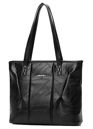 Agoolar Women Pu Casual Pants Formal Zippers Black Top Handle Bags