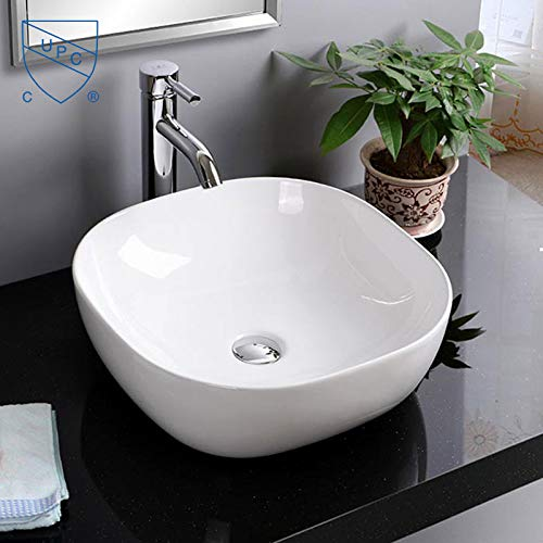 - Bathroom Sink, Vessel Sink Porcelain Round Above Counter White Countertop Bowl Sink for Lavatory Vanity Cabinet Contemporary Style (E-CL-1264)