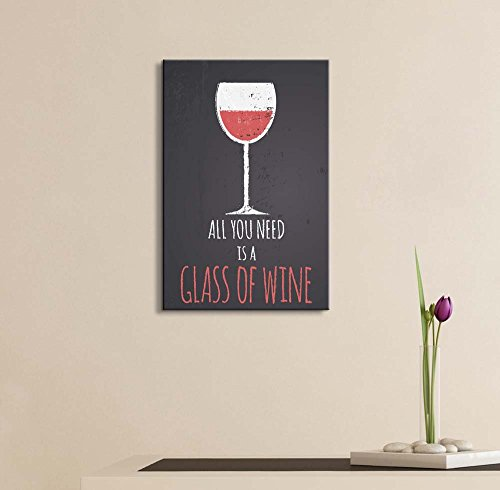 Chalkboard Style Illustration with a Glass of Red Wine Wall Decor ation