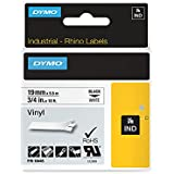 Dymo 18445 Rhino Vinyl Industrial Labels, Self-Adhesive - 19 mm x 5.5 m Roll, Black Print on White