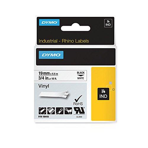 Dymo 18445 Rhino-Industrie-Vinyletiketten (Rolle 19mmx5,5m, schwarzer Druck auf weißem Untergrund, selbstklebend)