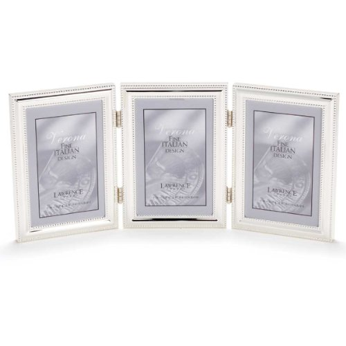 Lawrence Frames Hinged Triple (Vertical) Metal Picture Frame Silver-Plate with Delicate Beading, 4 by ()