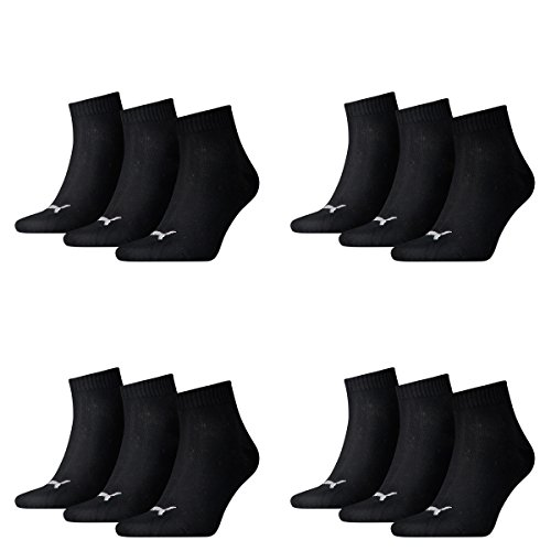 12 pair Puma Sneaker Quarter Socks Unisex Mens & Ladies 200 - black