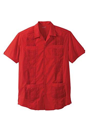 Island Short Sleeve Shirt (KS Island Men's Big & Tall Short-Sleeve Guayabera Shirt, Parrot Red Tall-6Xl)