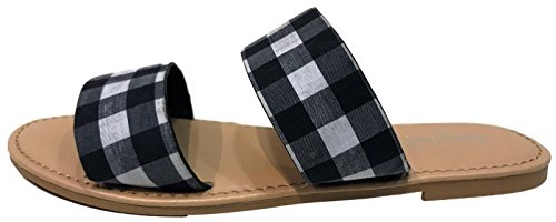 Sunny Feet Coastline-72S Women Open Toe Slip On Double Band Flip Flops Slide Flat Sandal Gingham Black (Gingham Flat)