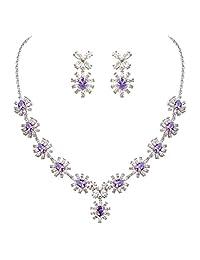EleQueen Women's Silver-tone Cubic Zirconia Teardrop Flower Bridal Necklace Earrings Set