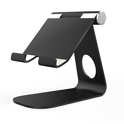 MoKo Tablet Stand, Universal 210 Degree Multi-Angle Rotatable Aluminum Alloy Smartphone Tablet Desktop Cradle Holder for iPad Pro 9.7/iPad Air 2, iPhone 6s/7 Plus, Samsung Galaxy S7/S7 Edge, Black (Ipad Air 2 Stands compare prices)