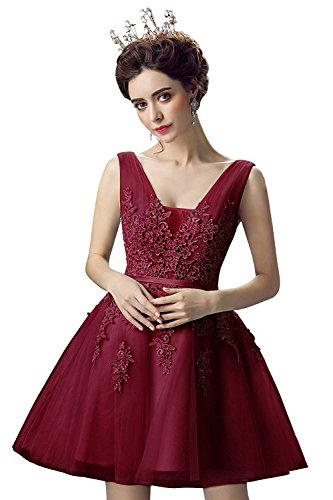 Babyonlinedress Sexy Girl Sweet 16 Dresses Lace Short Quinceanera Party Gown,Burgundy,Size -