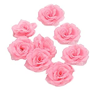"""3"""" Silk Rose Heads 100 Artificial Flowers Wholesale 8cm for Kissing Balls Pomander Flower Wall Wedding Arch Flowers (Baby Pink) 4"""
