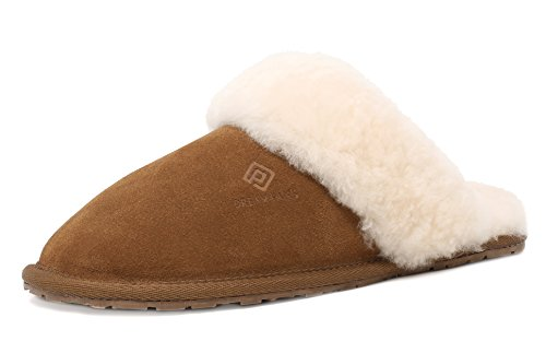 (DREAM PAIRS Women's BLIZ Chesnut Sheepskin Slip On House Slippers Indoor & Outdoor Winter Shoes Size 7.5-8 M US)