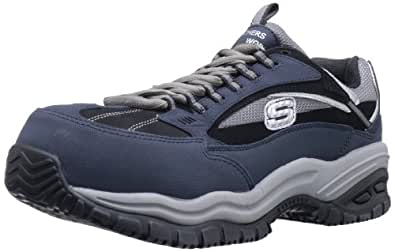 Skechers for Work Men's Soft Stride Compo Work Boot,Navy/Black,8.5 M US