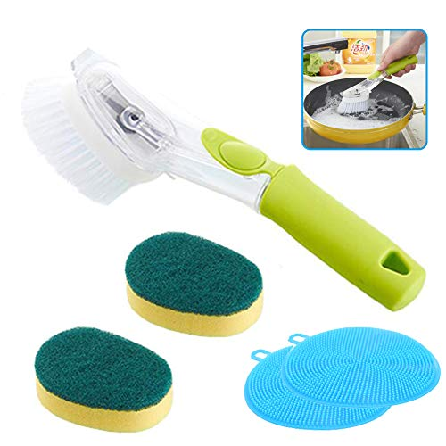 Apusale-Soap Dispenser Brush Heavy Duty Dish Wand Sponge For Kitchen Sink Cleaning Brush With(1 Dishwands and 3 Refill Replacement Heads and 1 Silicone Cleaning Sponges)