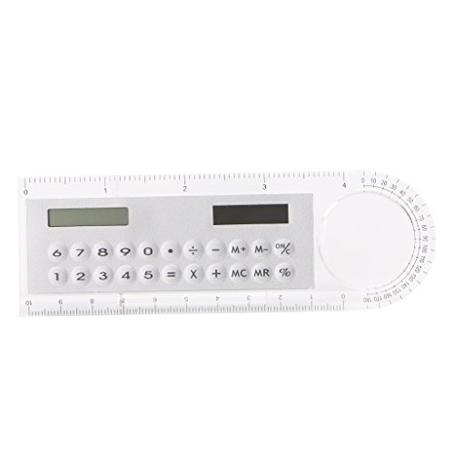 (Yuly New Calculator Mini Portable Solar Energy Colorful Student Ruler Office Stationery (white) )
