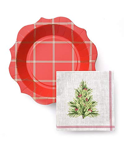 - George Stanley Gold Foil Grid & Holly Holiday Plates with Napkins, 40 Count