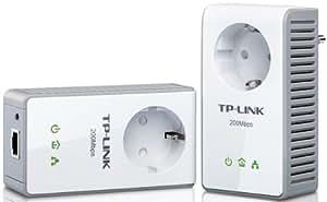 Tp-Link TL-PA250KIT - Pack de 2 adaptadores con toma de corriente integrada, puerto de transferencia AC, 200Mbps, color blanco