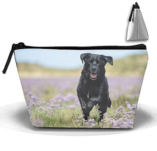 (Animal Labrador Retriever Dog Purple Flower Trapezoidal Storage Bag Double Print Handbag Coin Purse Cosmetic Pouch Wallet Pencil Holder)