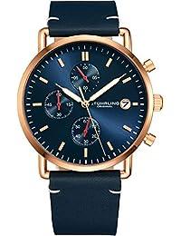 Stuhrling 3901 - Reloj de pulsera para hombre, correa de piel o correa de reloj con esfera plateada con fecha, estilo minimalista, caja de 38 mm, Azul/Oro Rosa