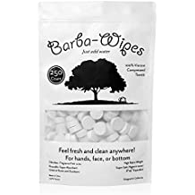 Barba-Wipes | Super Soft Compressed Wipe | Compressed Towel | Expandable Towel | 100% Viscose | Biodegradeable Eco-Friendly | Home Beauty School Backpacking Camping | 250 Count Resealable Bag