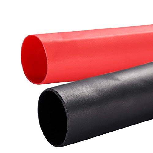 Young4us 2 Pack 1/2'' Heat Shrink Tube 3:1 Adhesive-Lined Heat Shrinkable Tubing Black&RED 4Ft