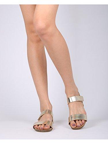 Sandalo Piatto Alambicco Da Donna In Pelle Double Face - Hh20 By Refresh Collection Champagne Metallic