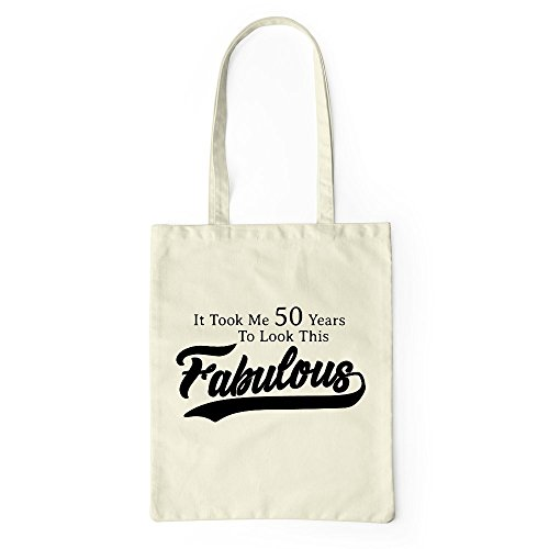 Look 50 Bag Fabulous Shopping Present Natural 50th Beach Tote Birthday Tote To Gym Took qECdxw11