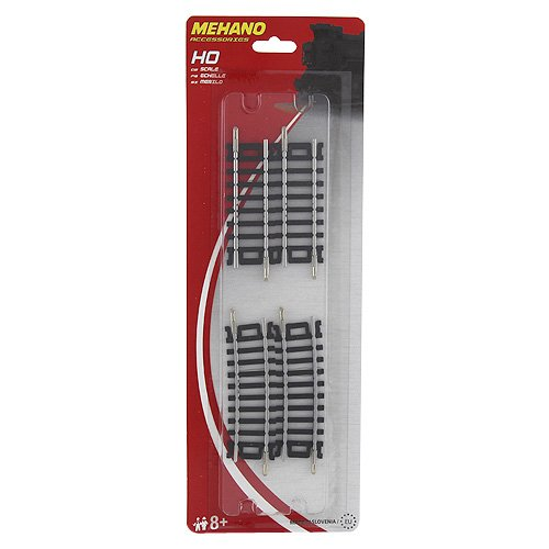 MEHANO TRAIN LINE - HO Scale Accessories, Blister 2 x 3'' straight + 2 x 3'' curved track 10? / R 457,2 mm