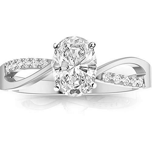 0.58 Ctw 14K White Gold Elegant Intertwine Twisting Split Shank Pear Cut Diamond Engagement Ring (0.5 Ct I Color VS2 Clarity Center Stone)