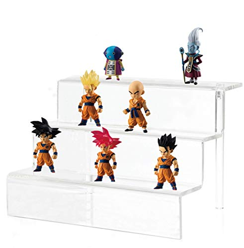 Cq acrylic Stepped Acrylic Riser Rack Shelf,Used as a Toy Figures Display Stand in a Store or Supermarket, as a can and Bottles Display Stand in The Kitchen, or as a Cupcake Stand for Parties