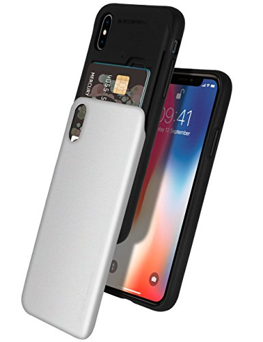 iPhone Xs Case, iPhone X Case [Sliding Card Holder] GOOSPERY Protective Dual Layer Bumper [TPU+PC] Cover with Card Slot Wallet for Apple iPhone Xs/X (Silver) IPX-Sky-SIL