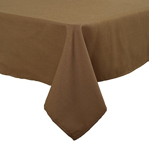 Deconovo Solid High Density Oxford Table Cloth Water Resistant Table Covers Rectangle Tablecloth for Dining Room 54x72 Inch (Brown Rectangular Dining Table)