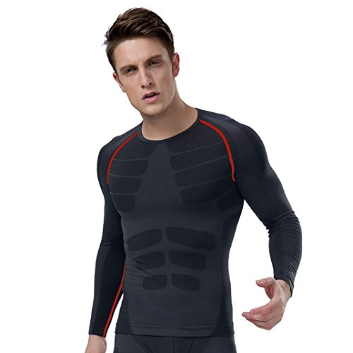 Panegy Men's Compression Base Layer Long Sleeve Top Quick-dry Sportswear Size M - Black Gray with Red Line