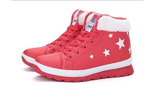 encaje británico corto tubo Plus mujer nieve botas botas para diseño algodón mujer de botas Kuki Martin cachemir zapatos zapatos Plano rojo de vUBqB7c