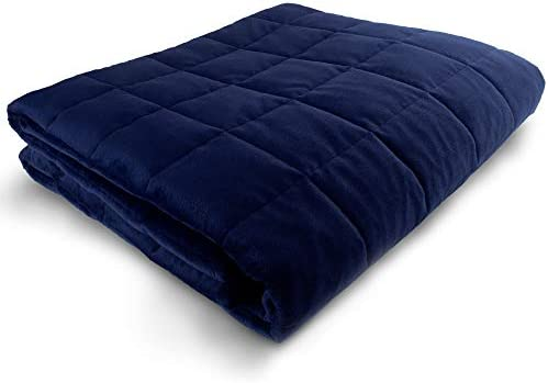 "Weighted Blanket - 60""x80"" - 30-lbs - Queen/King Size Bed - No Cover Required - for 180-230-lb Adult - Heavy Adult Comforter - Premium Glass Beads - Calming Stimulation Sensory Relaxation - Navy Blue"