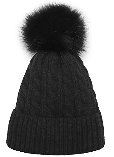 Women Knit Hat Winter Beanie with PomPom Slouchy Hats Skull Cap Thick Fleece Lining (black)