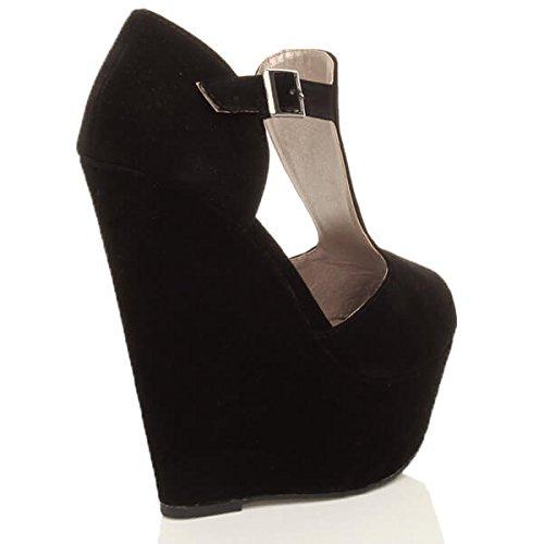 Damen Hohe Keilabsatz T-Riemen Peep Toe Schuhe Plateau-Sandalen Größe Schwarz