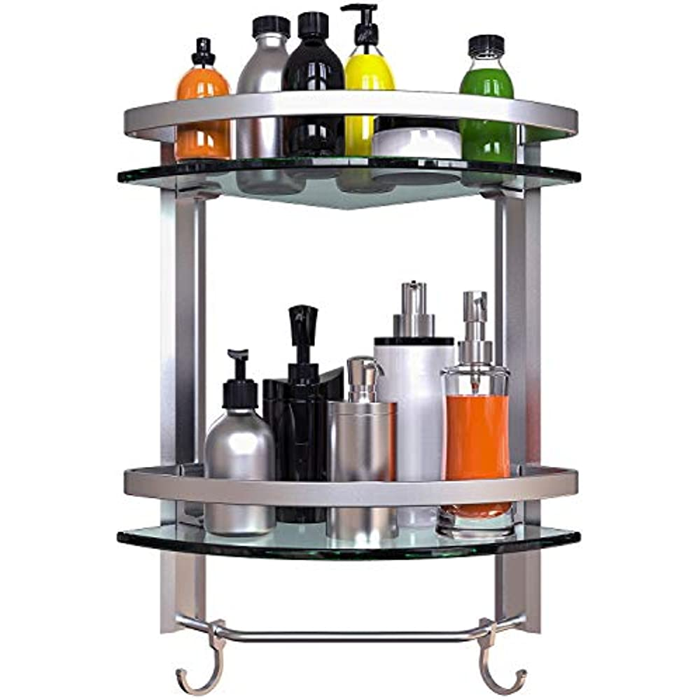 Vdomus Bathroom Tempered Glass Corner Shelf 2 Tier Shower Shelve with Towel Bar