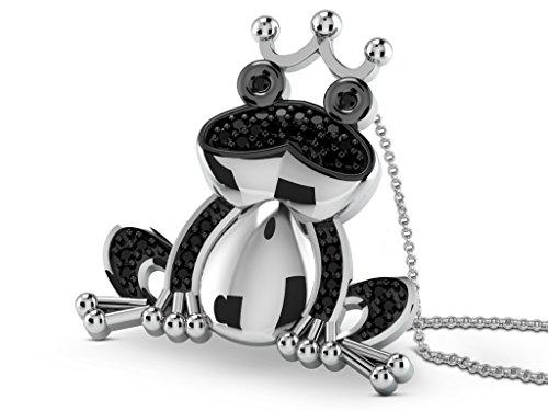 Blanc Argent 92CT (925) Diamant Collier en forme de grenouille, 0,01ct Diamant, GH de Si, 4.11Grammes.