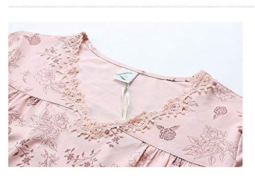 Madre Damas Camisón Cómoda Ropa Dormir Edad Pijama Mediana Algodón Pink De Verano Suelta qXHBBY