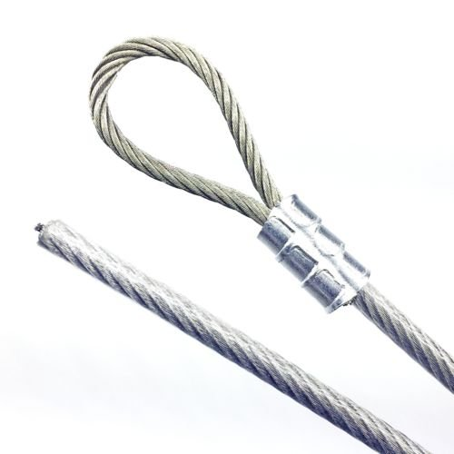 Made to Order Telecommunication Guide Wire Suspension Safety Braided Cable Galvanized Steel 1//4 Vinyl Coated Wire Rope 7x7 Strand 3//16 Core Single Loop Aluminum Sleeve 40 feet, Clear PSI
