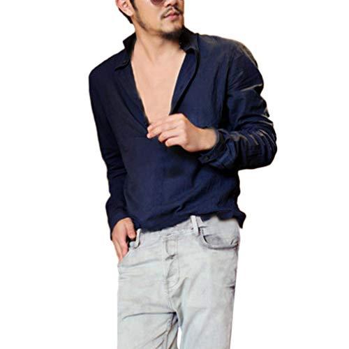 Flutter Cuff (Hot Sale! Mens Casual Cotton Linen Long Sleeve Henley Shirt - vermers Men Leisure Loose Solid Long Sleeve Tops Blouse(L, Navy))