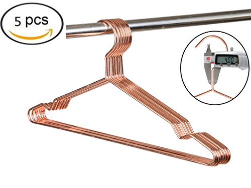 Amber Home Heavy Duty Rose Gold Shiny Copper Metal Wire Hanger for Suit Coat with Notches 5 Pack