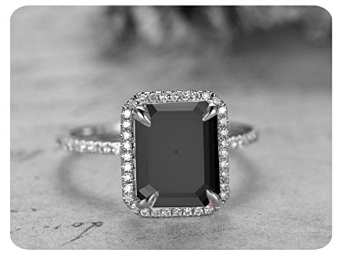 - Dabangjewels 4.5Ctw 8x10mm Emerald Cut Created Black & White Diamond .925 Sterling Silver Engagement Halo Ring for Women's